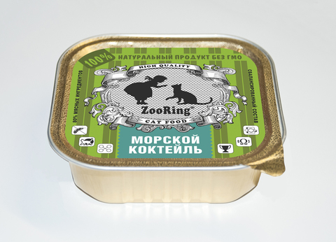 ЗООРИНГ Корм консервированный полнорационный для кошек (паштет) Морской коктейль 1.6 кг.