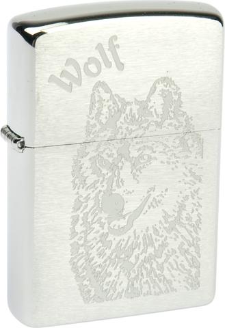 Зажигалка Zippo Wolf с покрытием Brushed Chrome, латунь/сталь, серебристая, матовая, 36x12x56 м123