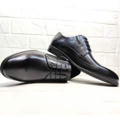 Классические туфли на шнуровке мужские koc 3416-1 Black Leather.