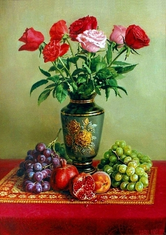 Алмазная Мозаика 30x40 Розы и фрукты на столе (арт. GB70498 )