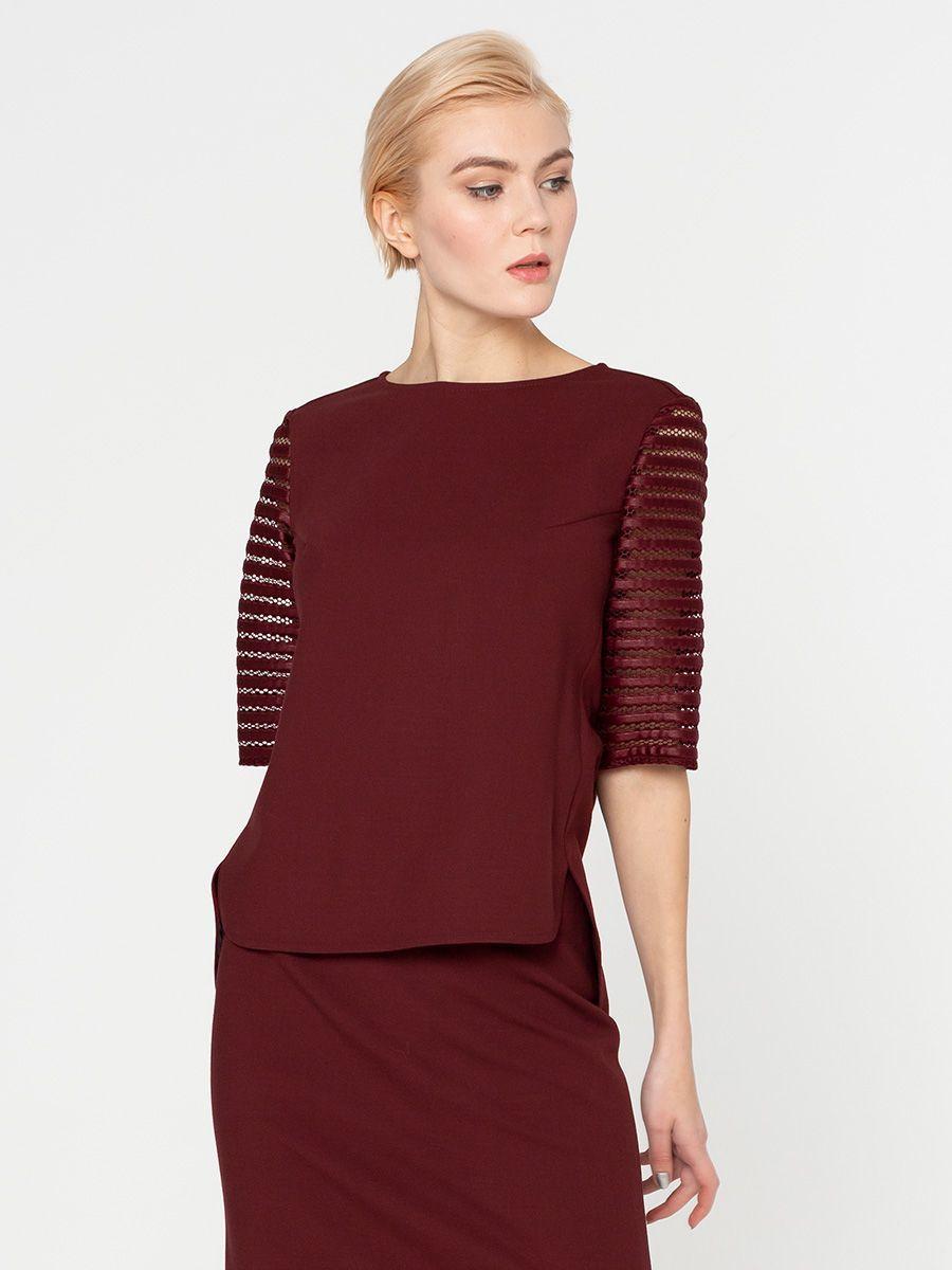 Блуза Г614-369 - Блуза прямого силуэта с рукавами из фактурного кож.зама. Модель для офиса и на каждый день. Благодаря нейтральному цвету и возможности комбинировать с различными стилями и фактурами ткани, займет достойное место в вашем базовом гардеробе.