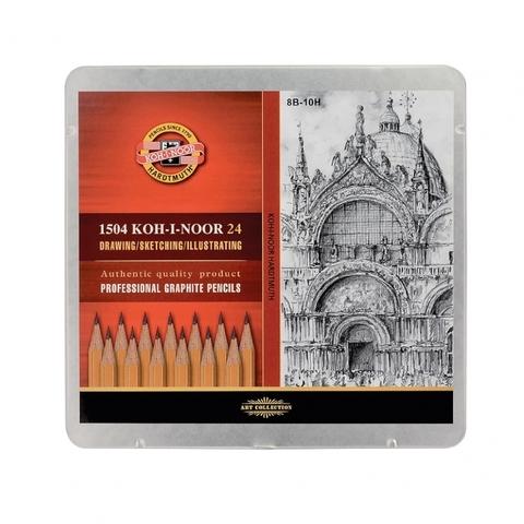 Набор чернографитных карандашей KOH-I-NOOR Art, 8B-10H, 24 шт., жестяная коробка
