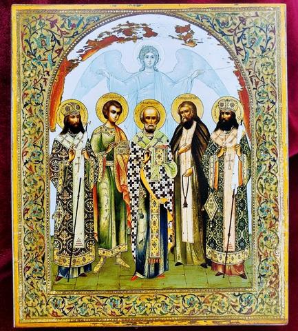Икона святой Николай Чудотворец с Ангелом Хранителем и святыми на дереве на левкасе