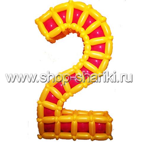 Цифра 2 из воздушных шаров