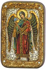 Инкрустированная икона Архангел Гавриил 15х10см на натуральном дереве в подарочной коробке