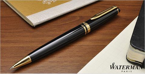 Шариковая ручка Waterman Expert, цвет: Black Laque GT, стержень: Mblue123