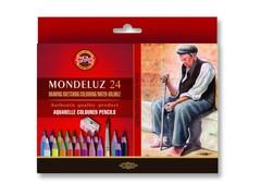 Набор художественных акварельных карандашей MONDELUZ OLD MAN 24 цвета с кисточкой и точилкой в картонной коробке