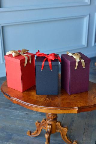 Коробка подарочная Premium, Бордовая (30*18*18) WoW Эффект