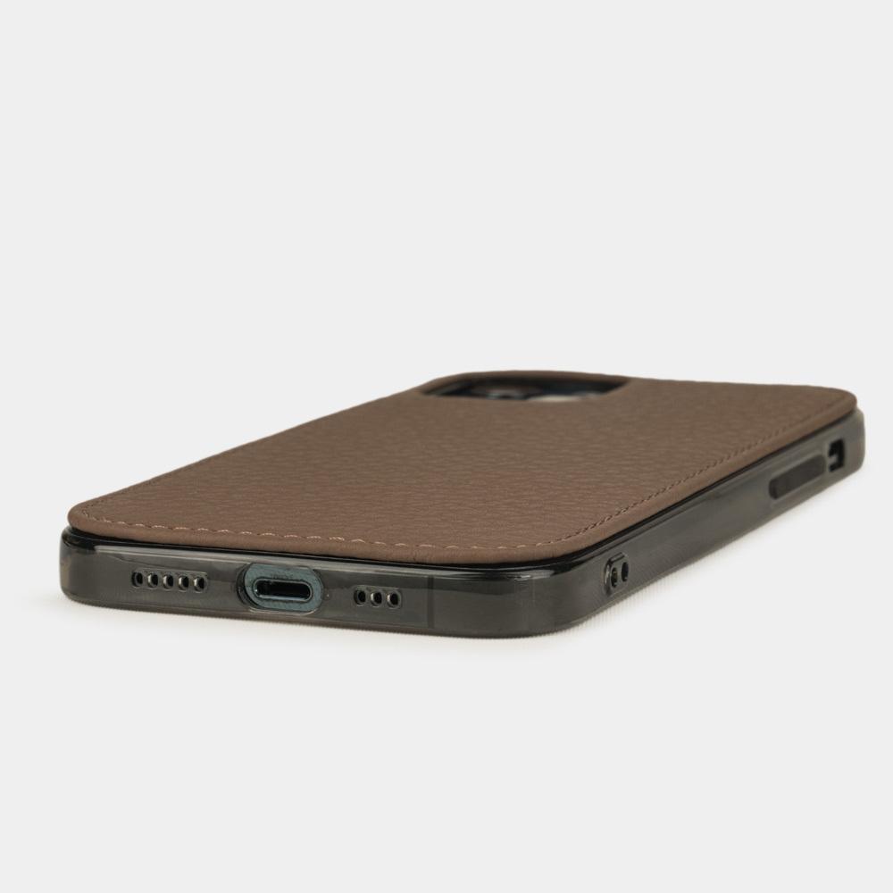 Чехол-накладка для iPhone 12/12Pro из натуральной кожи теленка, цвета кофе