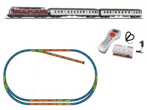 %Цифровой НАБОР% Тепловоз BR 220 + 2 пассажирских вагона, DB + запасной путь ABE