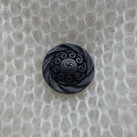 Пуговица металлическая на ножке, кельтские узоры, цвет черный, 15 мм