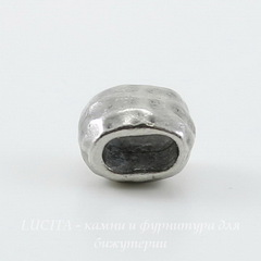 Бусина для шнура 4х2 мм TierraCast 7х5х5 мм (цвет-античное серебро)