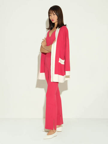 Женский кардиган красного цвета из шелка и кашемира - фото 3