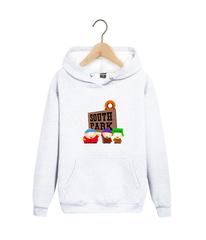 Толстовка белая с капюшоном (худи, кенгуру) и принтом Южный парк (South Park) 002