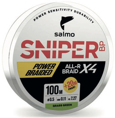 Шнур плетеный Salmo Sniper BP ALL R BRAID х4 Grass Green 120м, 0.15мм