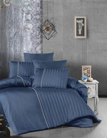 Комплект постельного белья DO&CO Сатин  жаккард DELUX MODALIFE  2 спальный Евро цвет синий