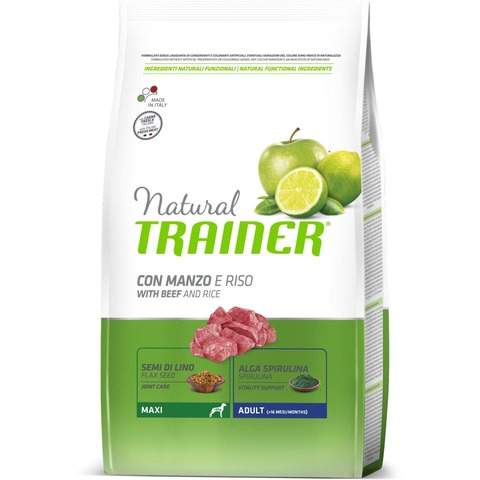 Сухой корм Trainer Natural Dog Maxi Adult - Beef and Rice 12 кг.
