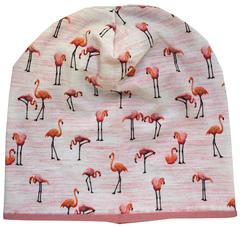 Детская шапочка с розовыми фламинго