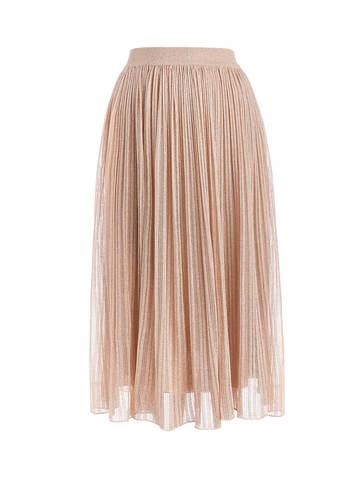 Женская двухслойная юбка золотого цвета из вискозы - фото 1