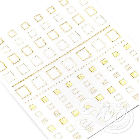 1378 Наклейки металлизированные квадратики золото
