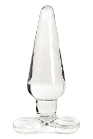 Прозрачная стеклянная анальная пробка - 11 см.