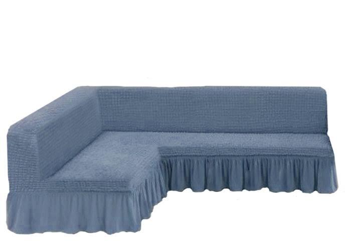 Чехол на угловой диван без подлокотников, светло-серый