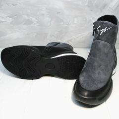 Женские зимние ботинки сникерсы на танкетке Jina 7195 Leather Black-Gray