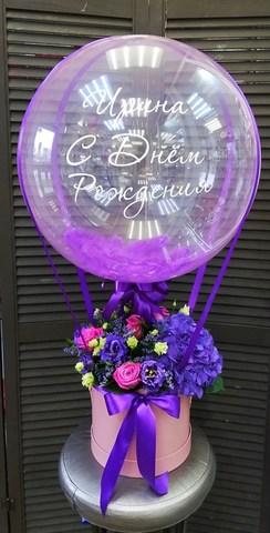 Цветочная композиция в коробочке и шар bubble #37790