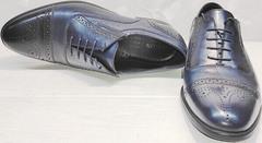 Модные туфли броги оксфорды мужские Ikoc 3805-4 Ash Blue Leather.