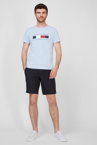 Мужская голубая футболка LOGO BOX STRIPE Tommy Hilfiger