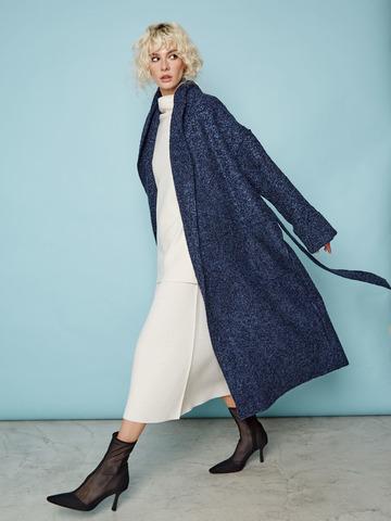 Кардиган-пальто из шерсти букле темно-синий