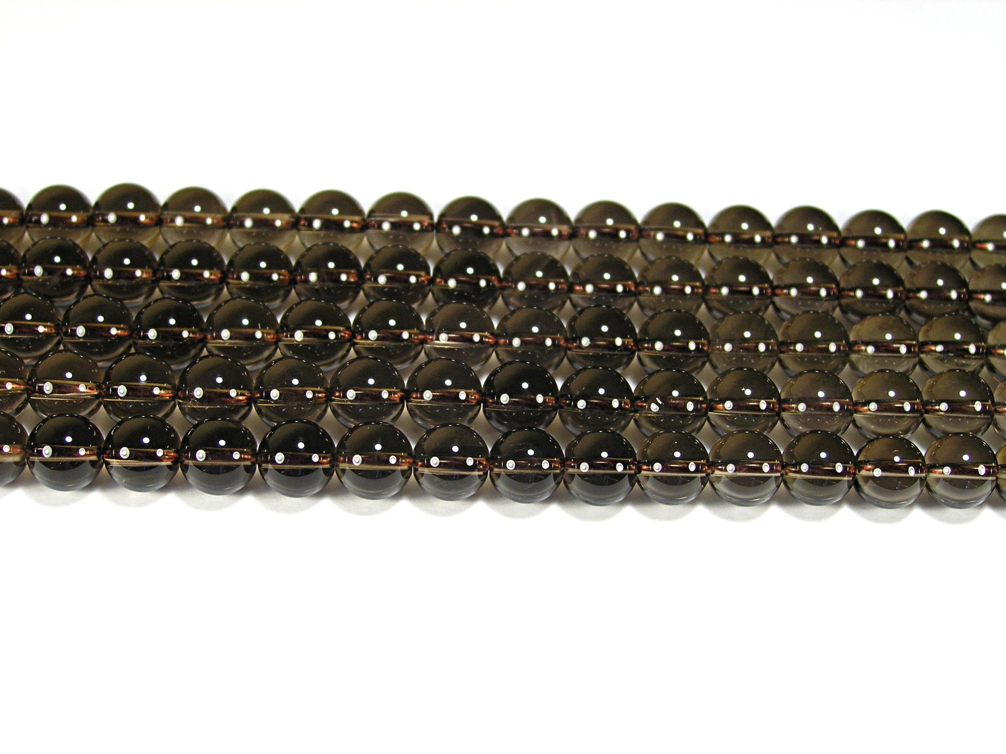 Нить бусин из кварца дымчатого, шар гладкий 8мм