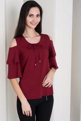 Одрі. Молодіжна блуза з воланами. Бордо