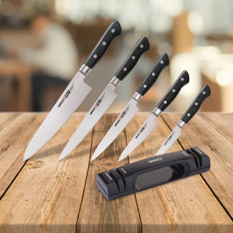 Набор из 5 ножей Samura PRO-S и точилки KSS-2000