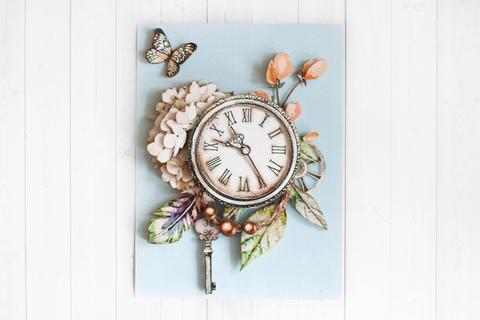 Папертоль Нежная серия: бабочка и часы - готовая работа, фронтальный вид
