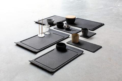 Фарфоровое прямоугольное блюдо, черное, артикул 642667, серия Basalt