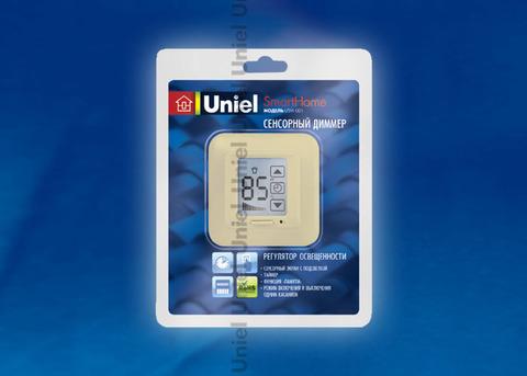 USW-001-LCD-DM-40/500W-TM-M-BG Выключатель с регулятором яркости лампы (диммер) и таймером выключения. Сенсорная панель. Блистер. Цвет — бежевый