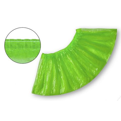 Бахилы одноразовые полиэтиленовые текстурированные 2.8 г зеленые (50 пар в упаковке)