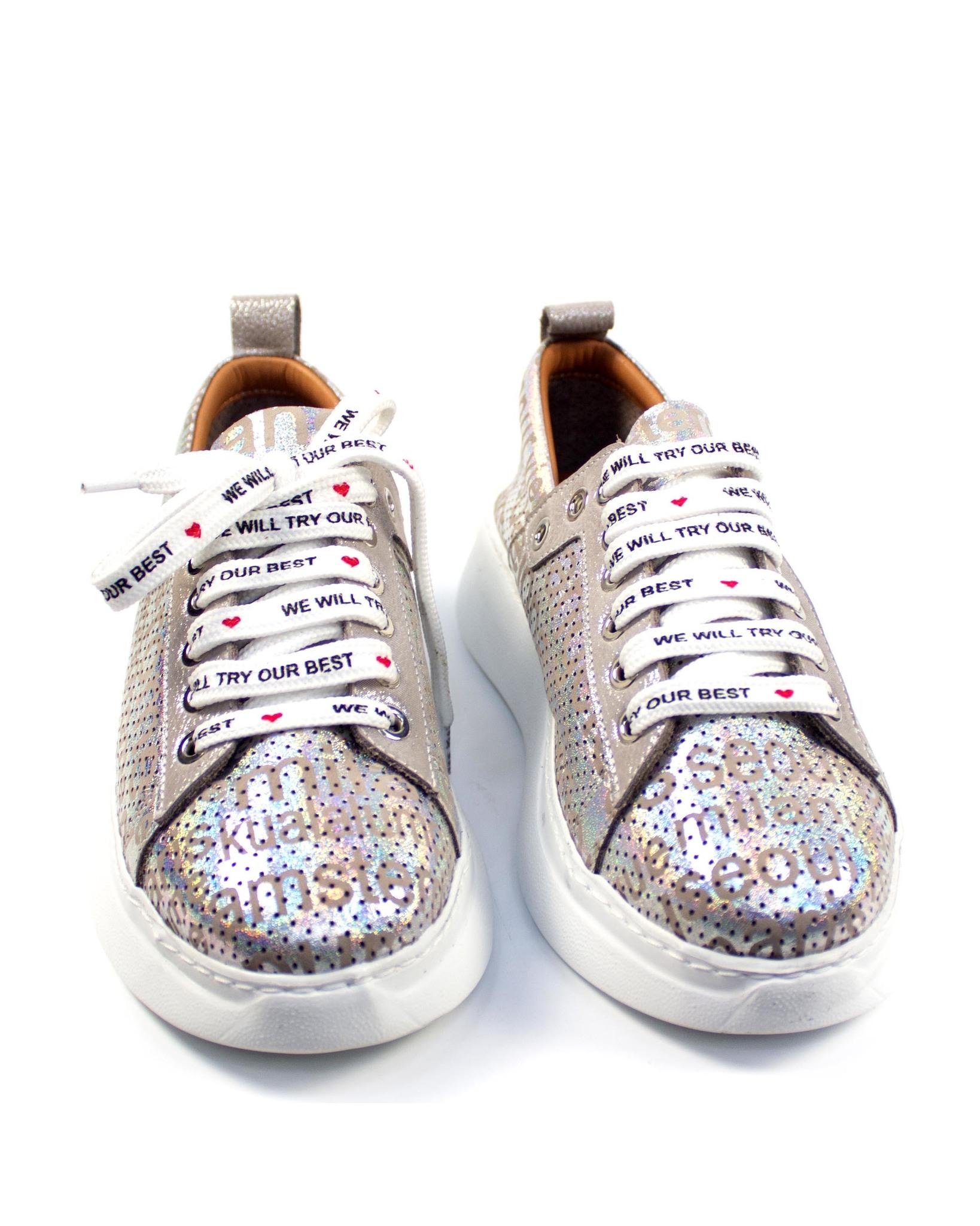 серебристые кроссовки Mario Muzi