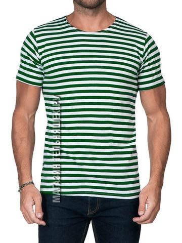 Купить футболку-тельняшку с зеленой полосой - Магазин тельняшек.ру 8-800-700-93-18Футболка-тельняшка прямая (зеленая полоса) в Магазине тельняшек