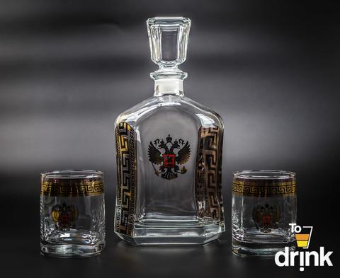 Подарочный  набор для виски «Министр»: штоф 800 мл, 2 стакана 275 мл