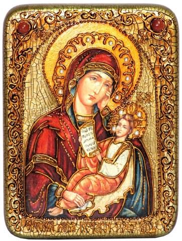 Инкрустированная икона Образ Божией Матери Утоли моя печали 20х15см на натуральном дереве в подарочной коробке