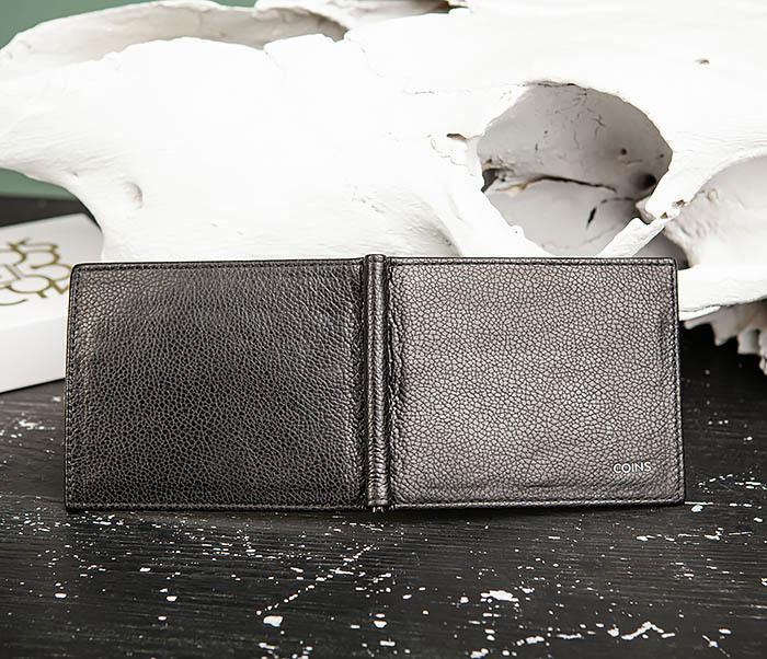WL322-1 Мужской зажим для купюр «Santini» из черной кожи фото 04