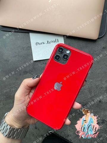 Чехол iPhone 11 Pro Max Glass Pastel color Logo /red/