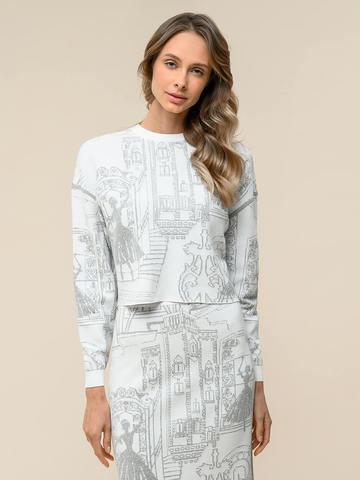 Женский джемпер белого цвета с принтом из вискозы - фото 1