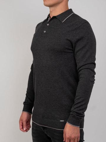 Мужской джемпер темно-серого цвета из шерсти и шелка - фото 1