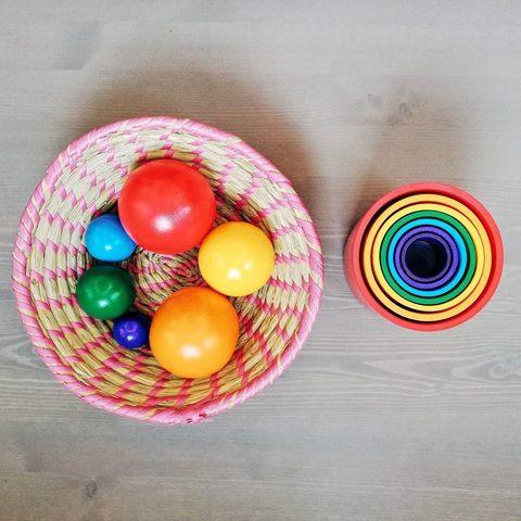 Стаканы радужные 7 в 1, шары радужные 7 размеров, Прямая радуга