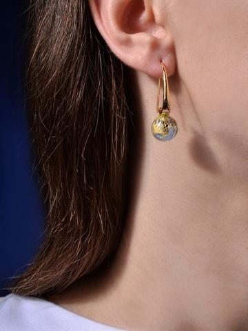 Серьги Ornella Safir Gold 056O светло-синие с золотом