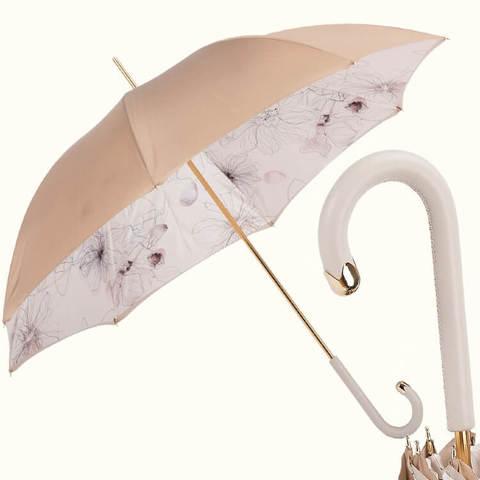 бежевый светлый зонтик с двумя слоями