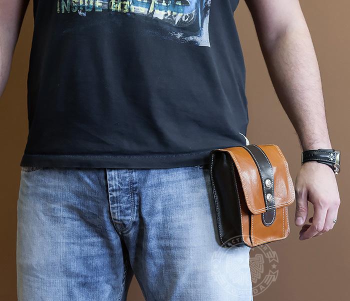 BAG379-2 Мужская кожаная сумка на пояс коричневого цвета, ручная работа фото 08